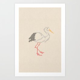 Stork Cross Stitch Art Print