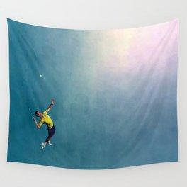 Novak Djokovic Tennis Serving Artsy Wall Tapestry