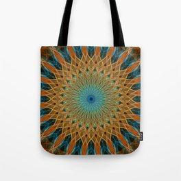 Orange and blue mandala Tote Bag