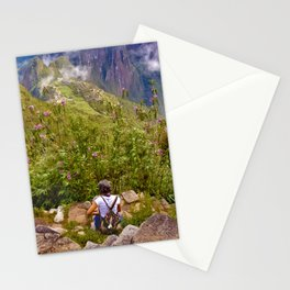 Woman Resting at Highs of Machu Picchu Mountain Stationery Cards