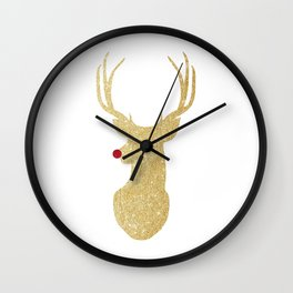 Rudolph The Red-Nosed Reindeer | Gold Glitter Wall Clock