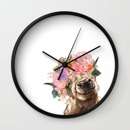Highland Cow with Flower Crown Wall Clock