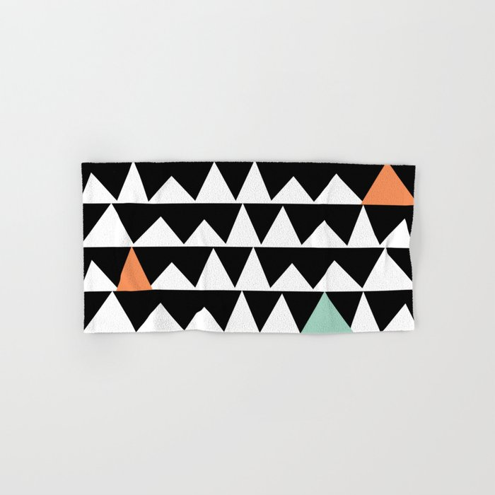 Tribal Triangles, Geometric Aztec Andes Pattern Hand & Bath Towel