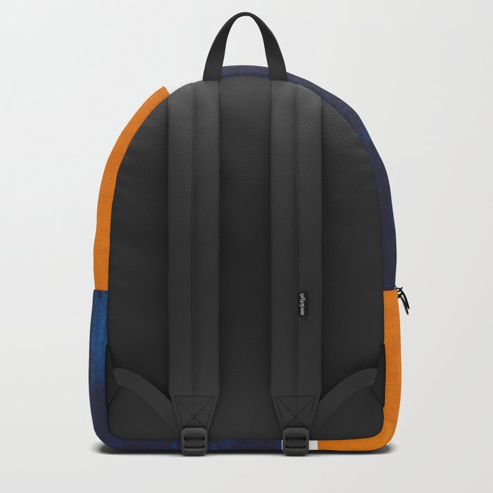 Navy Blue Yellow Ochre Abstract Minimalist Rothko Colorful Mid Century Color Block Pattern Backpack