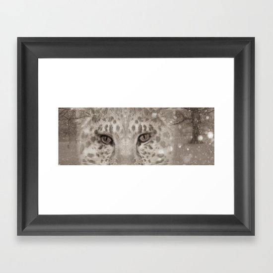 Snow Leopard night Framed Art Print