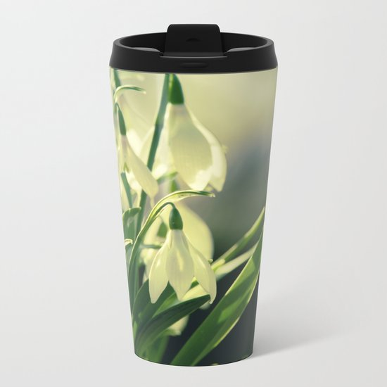 Snowdrops impression from the garden Metal Travel Mug