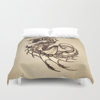 mythology Duvet Covers featuring Tsunami Sea Dragon by River Dragon Art