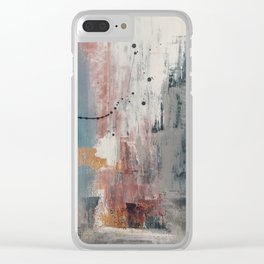 S'il Vous Plait: an abstract mixed-media piece in blue, gray, and gold by Alyssa Hamilton Art Clear iPhone Case