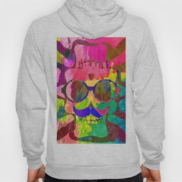 old vintage funny skull art portrait with painting abstract background in red pink yellow green blue Hoody