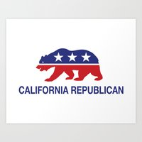 political Art Prints featuring California Political Republican Bear  by Republican