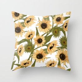 Sunflower Fields in White Throw Pillow