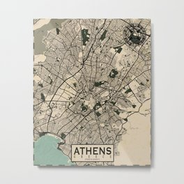 Athens City Map of Greece in Old Vintage Metal Print