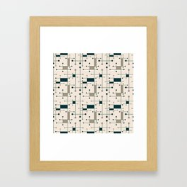 Intersecting Lines in Dark Teal, Tan and Navy Framed Art Print