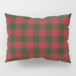 90's Buffalo Check Plaid in Christmas Red and Green Pillow Sham