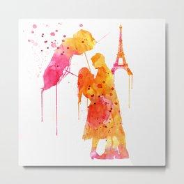 Watercolor Love Couple in Paris Metal Print