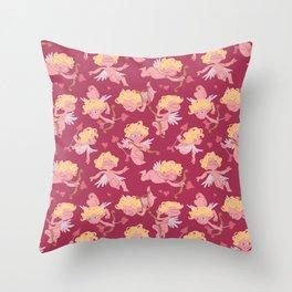 Love love - Valentine cherubs pattern Throw Pillow