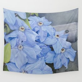 Blue Clematis Flowers on Knotted Fence Post Wall Tapestry