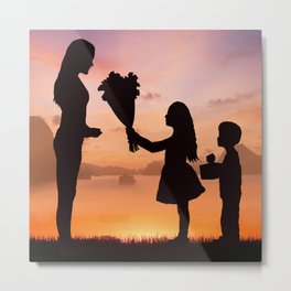 Mother and Children Metal Print