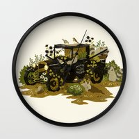 home sweet home Wall Clocks featuring Home Sweet Home by Teagan White