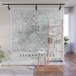 Jacksonville Florida Blue Water Street Map Wall Mural