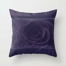 Aubergine -- Tone on Tone Purples -- Floral Rose Throw Pillow