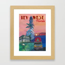 Key West Florida Southernmost Dreams Retro Travel Vintage Poster Framed Art Print