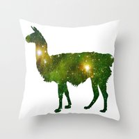 llama Throw Pillows featuring Llama by Lucas de Souza