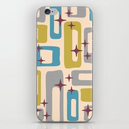 Retro Mid Century Modern Abstract Pattern 924 Turquoise Gray Olive iPhone Skin