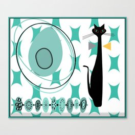 Mid-Century Modern Atomic Art - Teal - Cat Canvas Print