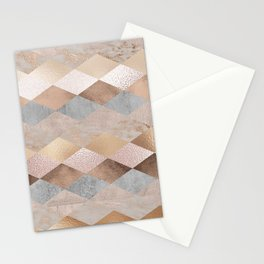 Copper and Blush Rose Gold Marble Argyle Stationery Cards