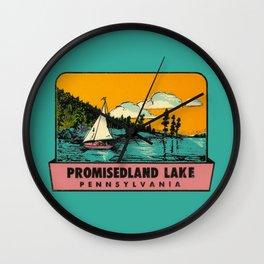 Sailboat Lake Vintage Travel Promisedland Wall Clock