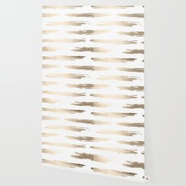 Simply Brushed Stripe White Gold Sands on White Wallpaper
