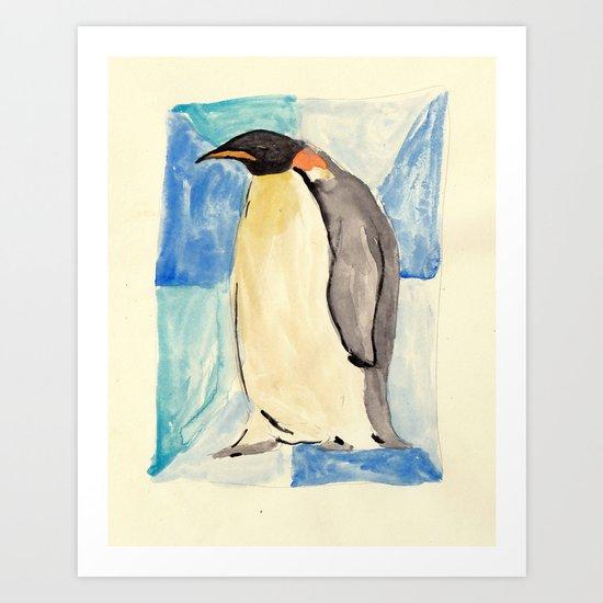 socially awkward penguin watercolour Art Print