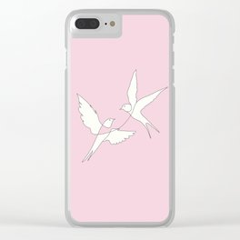 Two Swallows Line Art Clear iPhone Case