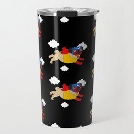 Lucha Libre Pug (Black BG) Travel Mug