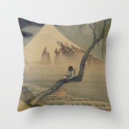 Boy Viewing Mount Fuji by Katsushika Hokusai Throw Pillow