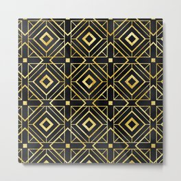 Sexy Art Deco Sultry Gold and Midnight Black Pattern Metal Print