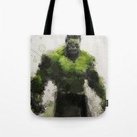 water colour Tote Bags featuring Water Colour Hulk by Scofield Designs