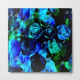 Vibrant Sapphire Roses Metal Print