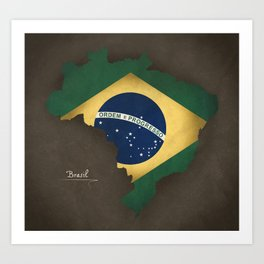 Brazil map special vintage artwork style with flag illustration Art Print