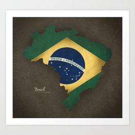 Brazil map special vintage artwork style with flag illustration Art Print