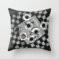 cigarettes Throw Pillows featuring Coffee and Cigarettes by Aleksandra Kabakova