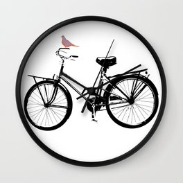 Baker's bicycle with bird Wall Clock