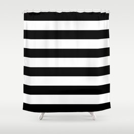 Simply Stripes in Midnight Black Shower Curtain