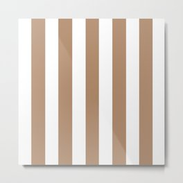 Light taupe brown - solid color - white vertical lines pattern Metal Print
