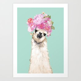 Llama with Beautiful Flower Crown Art Print