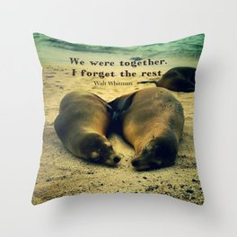 Love couple quote sea lions on the beach Throw Pillow