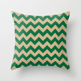 Tan Brown and Cadmium Green Horizontal Zigzags Throw Pillow