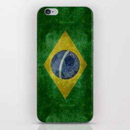 Vintage Brazilian National flag with football (soccer ball) iPhone Skin