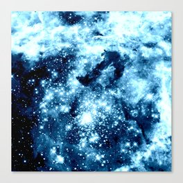 Ice Blue Galaxy Star Clusters Canvas Print